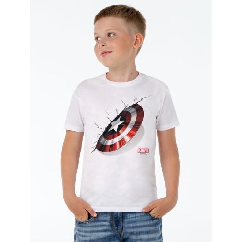 Футболка детская «Щит Капитана Америки», белая