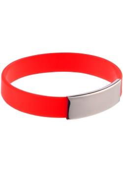 Силиконовый браслет Brisky с металлическим шильдом, красный
