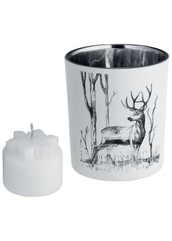 Подсвечник со свечой Forest, с изображением оленя
