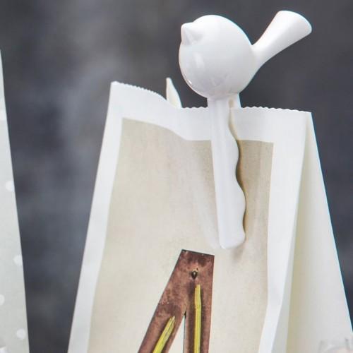 Набор зажимов для пакета Birds, белый с черным