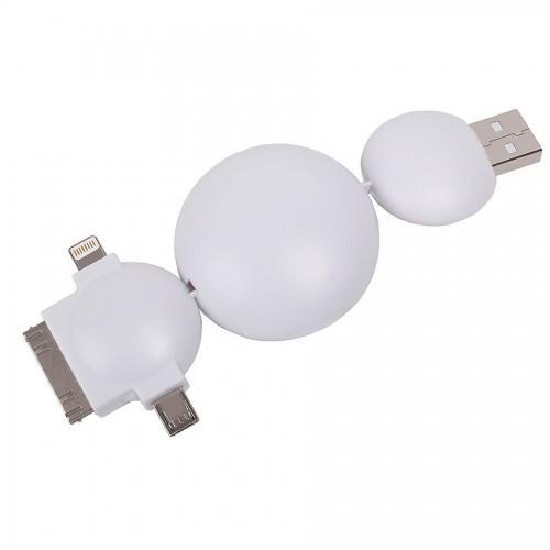 Кабель универсальный - ретракер 'Multi',11х4,5x2см, пластик, белый