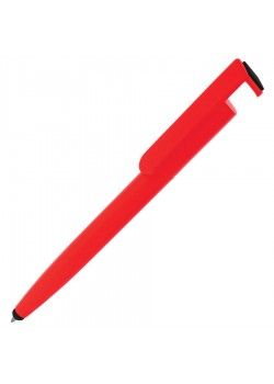 Ручка шариковая N3 со стилусом и подставкой для смартфона, красный