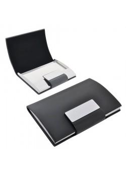Визитница 'Бонн' с магнитной застежкой, черный, серый
