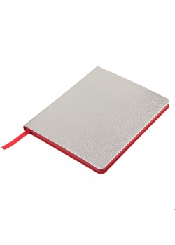 Ежедневник недатированный Arti, B6+, серебристый, блок в клетку, красный обрез, серебристый, красный