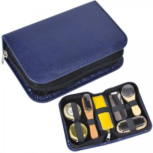 Набор для чистки одежды и обуви в пенале, 7 предметов, синий