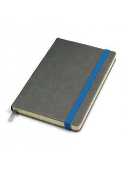 Бизнес-блокнот 'Fancy', 135х210 мм, серый/синий, твердая обложка,  резинка 10 мм, блок-линейка, серый, синий