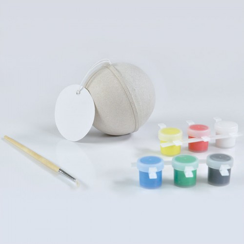 Набор для раскраски 'ШАР', шар, кисть, краски 6 шт., некрашеный картон