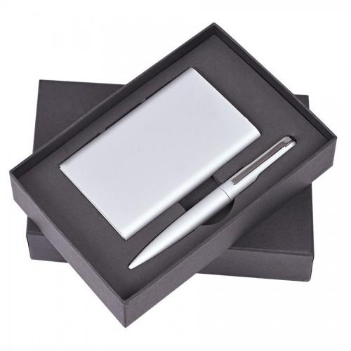 Набор 'Mirror': универсальное зарядное устройство (6000мАh) и ручка, серебристый