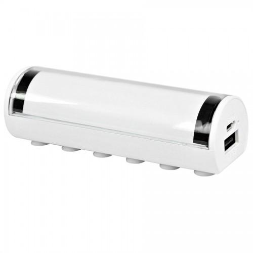 Универсальное зарядное устройство 'Flash' (2600mAh) с подсветкой логотипа, белый