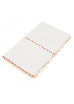 Бизнес-блокнот 'Combi', 130*210 мм, бело-оранжевый, кремовый форзац, гибкая обложка, в клетку/нелин, белый, оранжевый