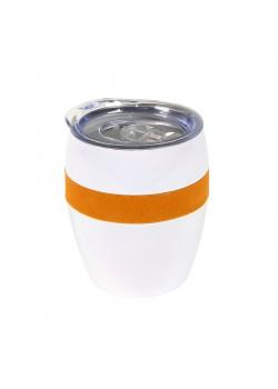 Термокружка LINE, белый, оранжевый