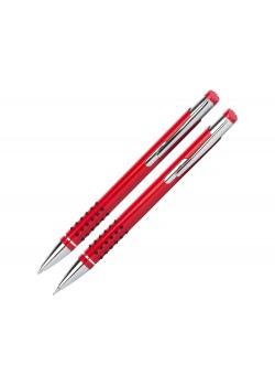 Набор Онтарио: ручка шариковая, карандаш механический, красный/серебристый