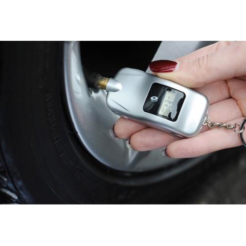Брелок-измеритель давления в шинах в форме автомобиля, серебристый