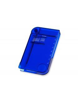 Записная книжка с ручкой, вечным календарем, линейкой и лупой, синий (Р)