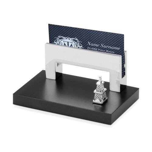 Подставка для визиток Черное золото, серебристый/черный