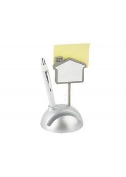 Подставка для визиток и ручки с держателем для бумаги Домик, серебристый/белый