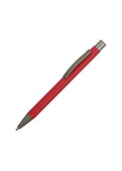Ручка металлическая soft touch шариковая Tender, красный/серый