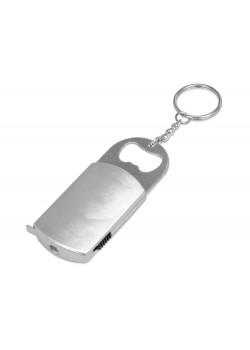 Брелок-открывалка с рулеткой и фонариком Open, серебристый
