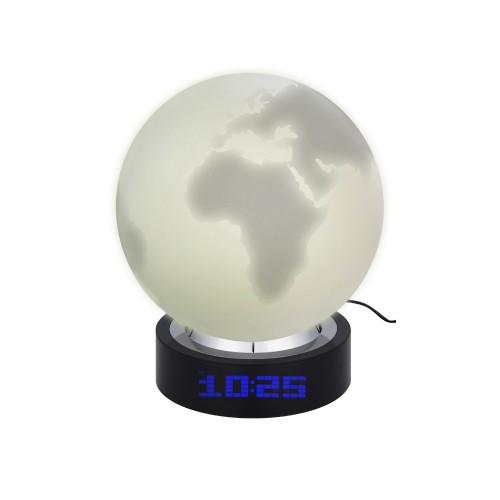 Лампа настольная с часами, датой и термометром. При включении на поверхности лампы появляется стилизованное изображение земного шара