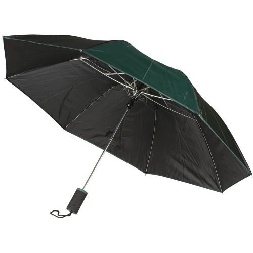 Зонт складной Логан полуавтомат, черный/зеленый