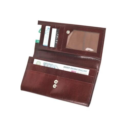 Портмоне дамское с отделениями для банкнот, кредитных карт и монет, коричневый