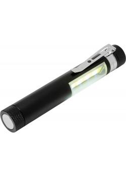 Карманный фонарик Stix с зажимом, оснащен бескорпусным чипом и магнитным держателем, черный