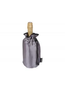 Охладитель для бутылки шампанского Cold bubbles из ПВХ в виде мешочка, серебристый