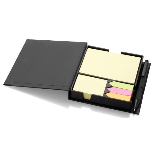 Блок для записей Samba с набором стикеров и ручкой, черный