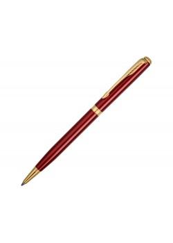 Ручка шариковая тонкая Parker модель SON13 SLM RED GT BP FBLK GB, красный/золотистый