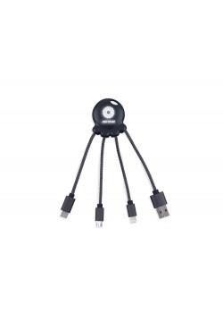 Зарядный кабель Octopus Light с подсветкой логотипа, черный