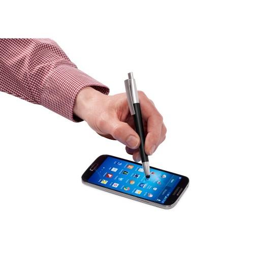 Ручка-стилус шариковая Salta, черный/серебристый, синие чернила