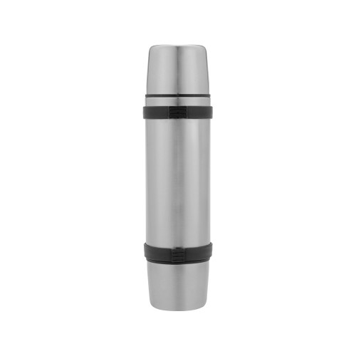 Термос на 750 мл с ручкой и двумя крышками Чай вдвоем, серебристый