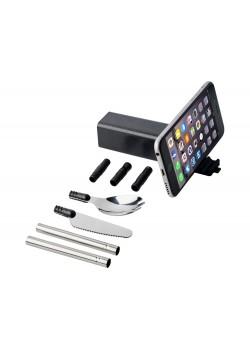 Набор столовых приборов Galen из пшеничной соломы с держателем для мобильного телефона, черный