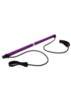 Палка гимнастическая с эспандерами Pilates Studio, черный/фиолетовый