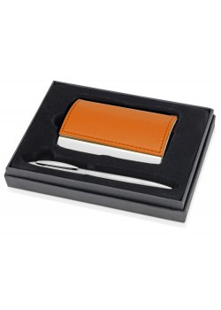 Набор Партнер: визитница, ручка шариковая, оранжевый