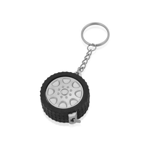Брелок-рулетка Шина, 1 м., черный/серебристый