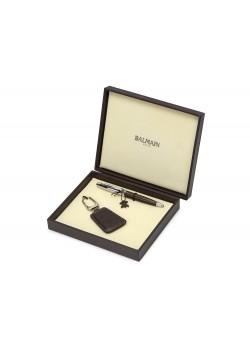 Подарочный набор Millau: ручка шариковая, брелок. Balmain, коричневый