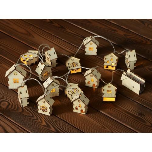 Елочная гирлянда с лампочками Зимняя сказка деревянная