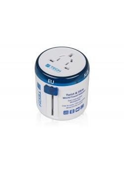 Адаптер Travel Blue Twist & Slide Travel Adaptor, голубой/белый