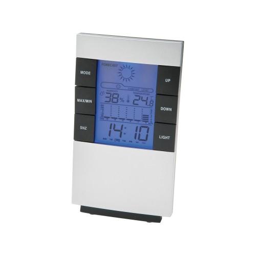 Настольная метеостанция Como с часами-будильником, серебристый/черный