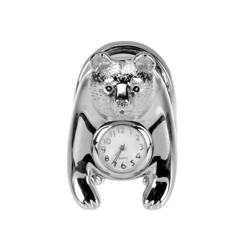 Часы Медведь, серебристый