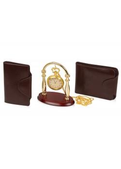 Набор: портмоне, визитница, подставка для часов, часы на цепочке Фрегат Laurens de Graff